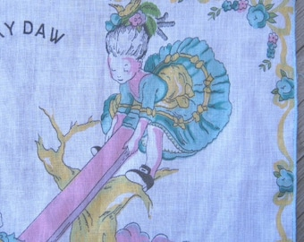 Midcentury Seesaw Margery Daw Vintage Handkerchief - Vintage Fairy Tale Hankie - Children's Novelty Hankie