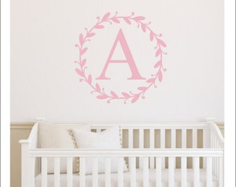 Rustic Monogram Decal Initial Decal Girls Nursery Decal Personalized Monogram Decal Simple Twig Border Decal Girls Nursery Decal Wall Decor
