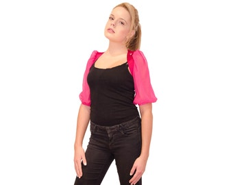 "Bolero jacket ""Magenta"" - pink silk taffeta and musselin - elbow-length puff sleeves"