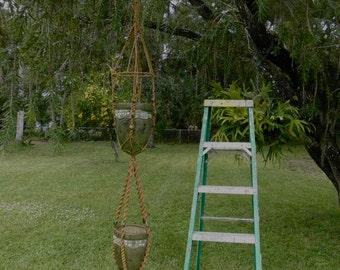 Large 70's Jute Hanging Macrame Vintage 8' Dbl Plant Hanger w/ 40mm Wood Beads, Home & Garden Decor,