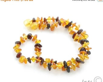 15% OFF THRU OCT Baby Amber Teething Necklace, 100 Percent Genuine Baltic Amber Baby Necklace, Multi Color Amber Beads