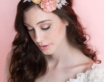 Silk Flower Halo, Bridal Flower Crown, Wedding, Bridal Hair Accessory, Silk Flowers.