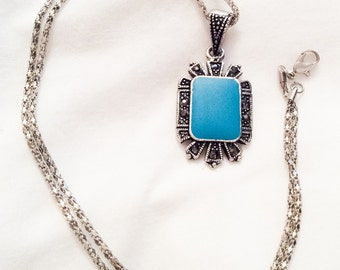 Blue Glass Pendant, Marcasite, Vintage Jewelry, CHRISTMAS SALE