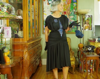 80's LBD Vamp Party Dress . Slinky Black Jersey . Iridecsent Art Deco Beading . Travilla Dallas . CASADEI Electra label . Witch Costume .