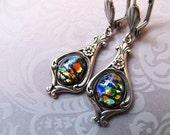 Black Opal Earrings Mexican Fire Opal Earrings Art Nouveau Earrings Art Deco Earrings Sterling Silver 1920s Earrings Black Earrings- Beloved