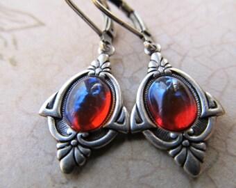 Dragon's Breath Opal Earrings Mexican Fire Opal Earrings Fire Opal Earrings Gothic Earrings Art Deco Earrings Red Earrings- Dragon's Eyes