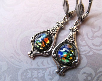 Black Opal Earrings Mexican Fire Opal Earrings Art Nouveau Earrings Art Deco Earrings Sterling Silver 1920s Earrings Black Earrings- Beloved