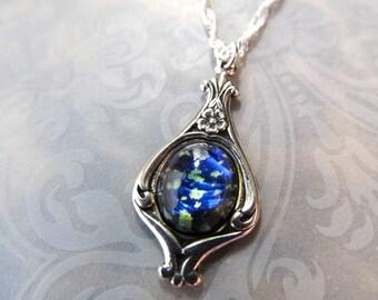 Opal Necklace Black Opal Necklace Fire Opal Necklace Gothic Sterling Silver Art Nouveau Necklace Art Deco Necklace Opal Pendant- Peace