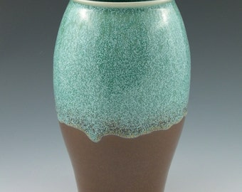 Vase in Aqua and Brown Handmade Pottery