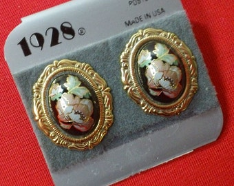 Vintage 1928 Jewelry Company Filigree Faux Black Cloisonne Floral Gold-Filled Post Earrings