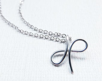 Letter X Necklace, Silver Initial Necklace, Cursive Letter Necklace, Letter Necklace, Initial Necklace