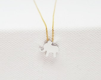 Elephant Necklace, Lucky Elephant Necklace, Silver Elephant Necklace, Elephant Jewelry, Elephant Charm Necklace, Mixed Metal Necklace