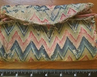 RARE Original 1700s 18th Century Flame Stitch Wallet Purse