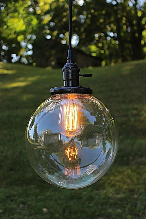 Glass Globe Sphere Pendant Light Industrial Lighting Globe
