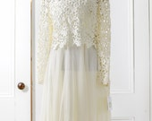 LAYAWAY - RESERVED for: Flikkfly. Do Not Buy. // Lace Top  Wedding Gown. Chiffon Skirt.
