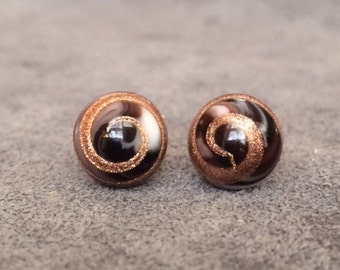 Vintage Japanese Black Gold Glass Cabochon Earrings Sterling Silver 8mm Stud CODE SHOPSMALL20