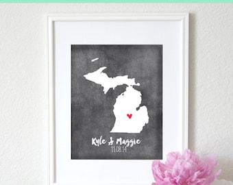 Personalized Chalkboard Map Any State or Country Custom Map Art Print 8x10. Keepsake Custom Map. Personalized Art Print. Chalkboard print.