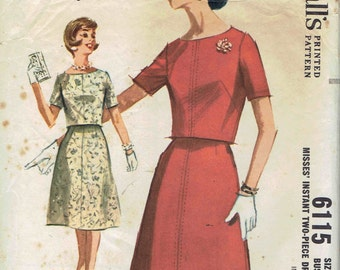 60s Instant Two-Piece Dress: Overblouse with Bateau or Boat Neck, 4 Gore Flared Skirt Pattern. McCalls 6115 Size 12 Bust 32 inches.