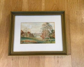 Victorian Painting of the River Tame Tamworth England Landscape Watercolor in Orginal Frame  Art Antique Home Decor Wall