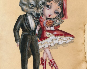 Wolf And Red Riding Hood LIMITED EDITION print signed numbered Simona Candini Art Big Eyes Lowbrow Fairytale illustration Pop Surreal Love