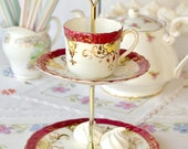Ruby red 2 tier trinket / mini cake stand: English bone china with lemon and gold detailing creating this little stand / jewelry holder