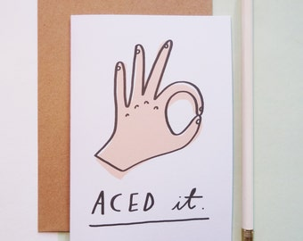 Aced it congratulations card