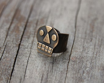 Bronze Calavera ring #1
