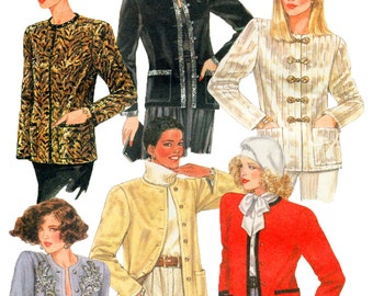 Misses Collarless Jacket Pattern McCalls 8798 Size 12 Bust 34 Evening Casual UNCUT FACTORY FOLDED
