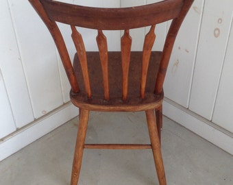 Antique Wooden Spindle Back Chair Primitive Farmhouse Primitive Country Kitchen