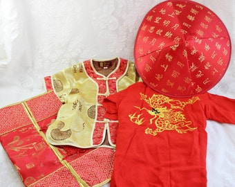 Child's Asian Costume- Vintage/ Antique with Hat- Yellow and Red Satin Robe, Dragon embroidery Robe, Carry Pouch with Tassels- Size 6