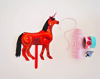DIY Red Unicorn Paper Doll / DIGITAL DOWNLOAD / Articulated Doll / Party Supplies