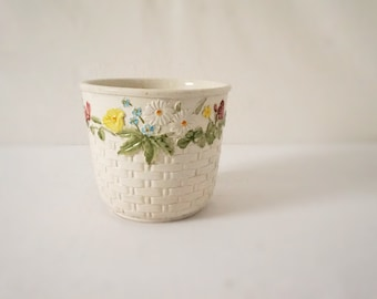 Vintage White Basket Weave Ceramic Planter Pot