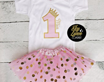 Pink Gold Princess First Birthday Outfit Embroidered Applique Shirt or Bodysuit & Tutu