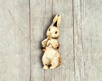 Bunny Rabbit Brooch Musical Pin Trumpet Easter Spring Summer