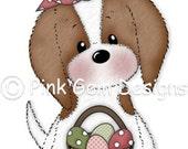 Digi Stamp  Easter Katie - Cute Cavalier King Charles Puppy. Birthday. Easter