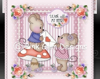 Valentine Mice - Downloadable Card Kit with Decoupage