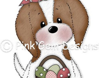 Digi Stamp  Easter Katie - Cute Cavalier King Charles Puppy. Birthday. Easter