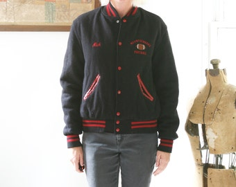 SALE Vintage Varsity Jacket Football Letterman Name Embroidered Black and Red
