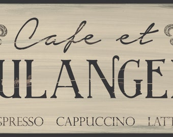 cafe et boulangerie french kitchen sign cappuccinoespressolatte sign distressed french - Distressed Cafe Decor