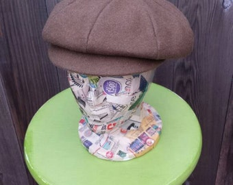 Vintage 1960s Hat, Hunt Brown Wool Cap, Vintage Newsboy Hat, Gatsby Golf Driving Cap, Brown Cabbie Cap