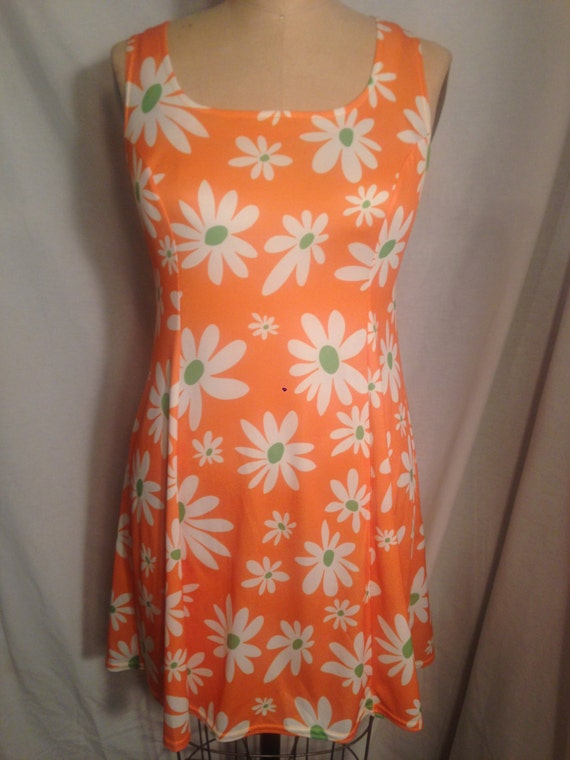 Vintage 90s Bright Orange Flower Tank Dress Size L d58