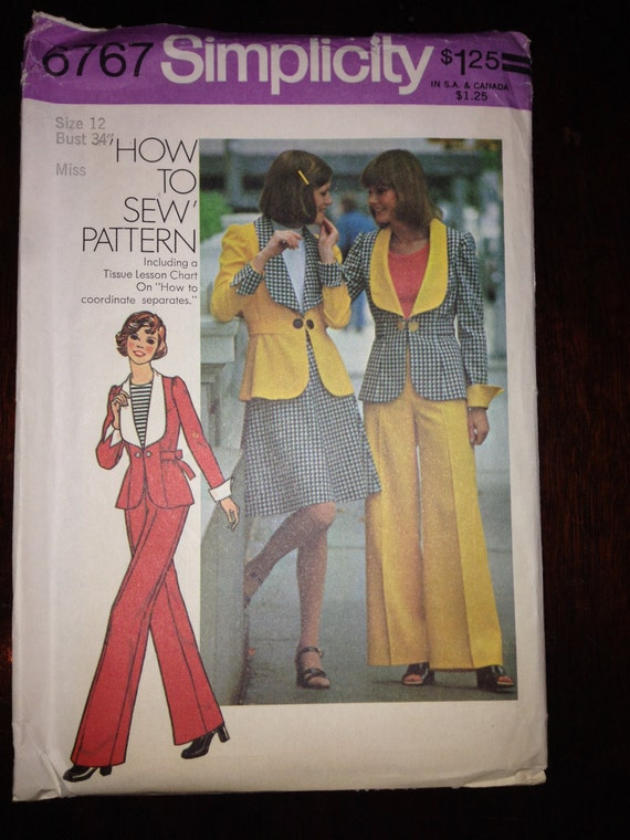 Simplicity Sewing Pattern 6767 70s Misses Unlined Jacket, Short Skirt and Pants Size 12 Uncut