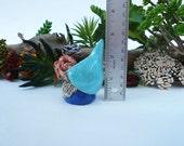 Aqua Blue Tomte, Pottery Gnome Sculpture, handmade Terrarium Accessory, Gnome for Fairy Garden, Collectible Mini Sculpture.