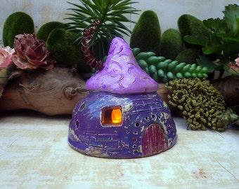 Purple Nursery Nightlight, Fairy House Night Light, Children's Room Nightlight, Handmade Ceramic Gnome House, Indoor & Outdoor light.
