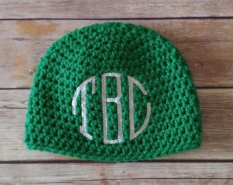 Green Monogrammed Baby Hat - Baby Shower Gift - Personalized Baby Gift - Crochet Baby Hat