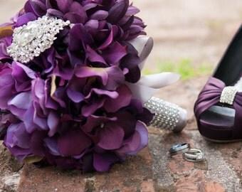 Brooch Bouquet- Hydrangea, Silk Wedding Bouquet, Purple Hydrangea and Brooch Bridal Bouquet- Made to Order