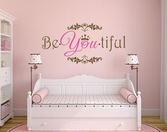 Girls Bedroom Wall Decor be you tiful decal | etsy
