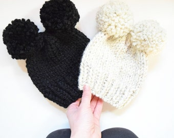 Double Pom Pom Knitted Hat, Children's Knitted Hat, Baby Hat, Double Pom Pom Baby Hat || The Molly with Double Pom Poms