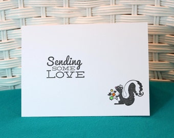 Set of 5 Hand Stamped Sending Some Love Skunk Note Cards