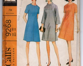 "1960's McCall's One-Piece high neck Dress Pattern - Bust 44"" - No. 9268"